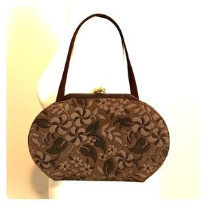 Vintage 1950s Brown Embroidered Purse